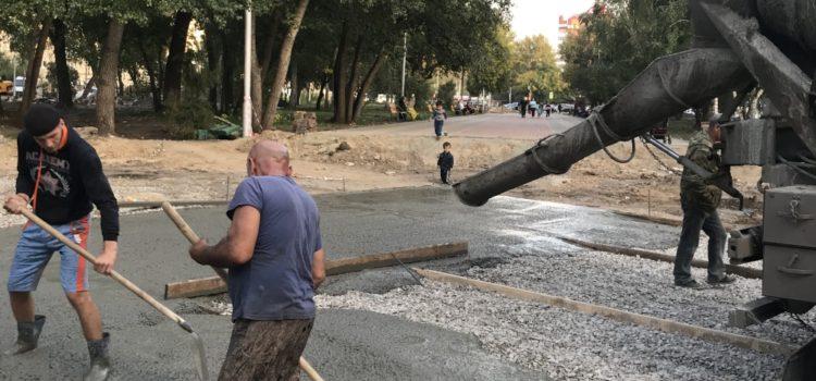 Строительство фонтана вКургане на территории «парка Победы»